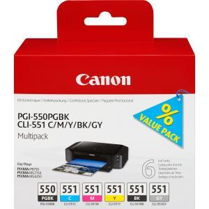 Ink Cart Pgi-550/cli-551pg Bk/c/m/y/bk/gy Multi Pack/value Pack Non-blist