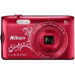 Digital Camera Coolpix A300 20.1 Mpix 8x Opt 4x Digital Zoom 2.7in LCD Red Line Art + 8GB Microsdhc