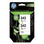 Ink Cartridge No 343 Tri-color With Vivera Ink 2-pk