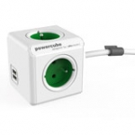 Powercube Extended With USB 3x Type E Sockets Bel 1.5m White/green