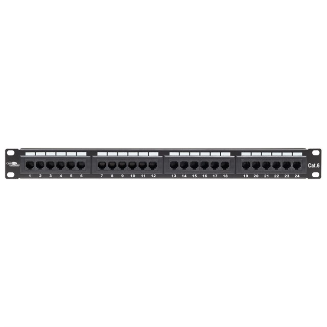 Patchpanel CAT6 Unshielded 24 Ports Black Krone St